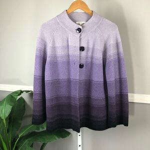 JM Collection sweater/armed poncho purples